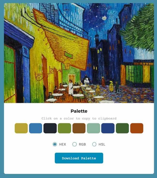 Palette colori da quadro di Van Gogh